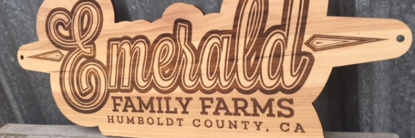 WoodLab Designs Emerald Family Farms Hickory Veneered Promotional Cannabis Dispensary Sign