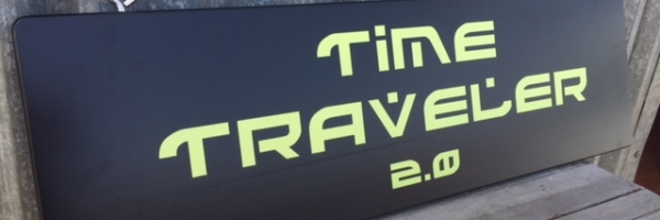WoodLab Designs Time Traveler 2.0 Exterior Painted Redwood Awning Hanging Sign