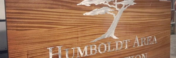 WoodLab Designs Plasma cut metal letters & imagery on Sapele wood sign in progess