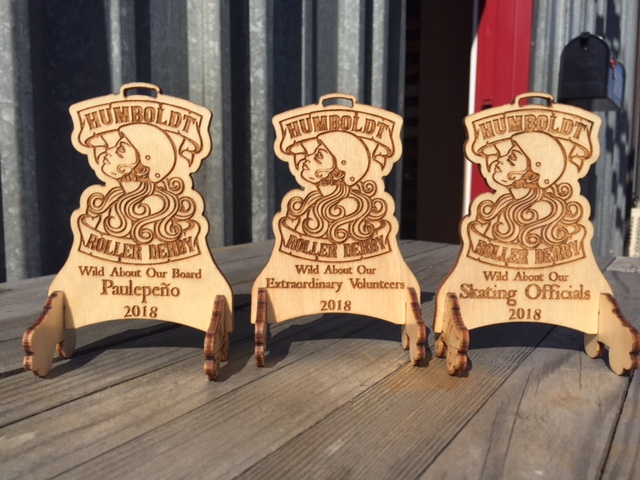 Wood Lab Designs Humboldt Roller Derby mini recognition awards made from Baltic Birch plywood with roller skate stand