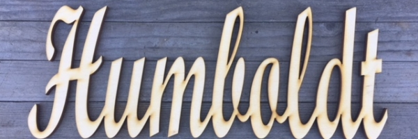 Wood Lab Designs Humboldt Concrete Press and Baltic Birch wooden cutout sign