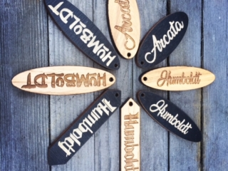 WoodLab Designs Hickory veneer & stained Baltic Birch wooden Humboldt Arcata keychains