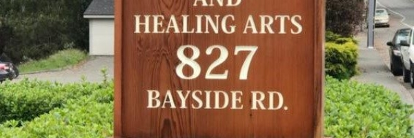 WoodLab Designs Redwood CNC Carved Painted Exterior Finished Acupuncture Sign