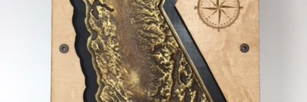 WoodLab Designs Faux Metal Casting of California Topographical Map with laser etched Compass Wall Mounted Artwork