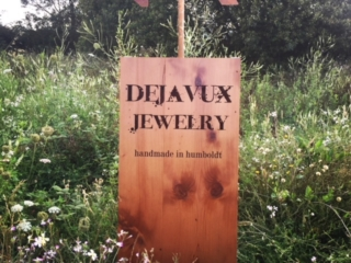 WoodLab Designs Upcycled Reclaimed Salvaged Redwood Sidewalk Sign Sandwich Board with copper arrow topper