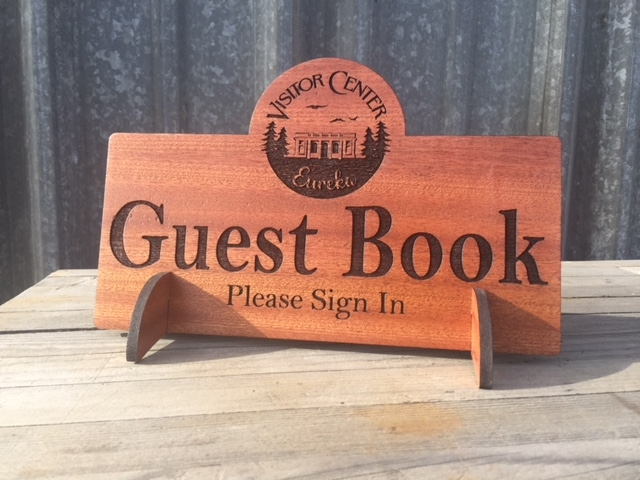 WoodLab Designs Laser engraved Sapele Guest Book Signage for the Eureka Visitor Center