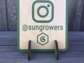 WoodLab Designs Humboldt Sungrowers Association Laser cut Baltic Birch Instagram Profile locator sign