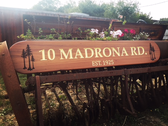 WoodLab Designs Upcycled Train Station Redwood CNC & Laser Etched Address Marker Avenue of the Giants