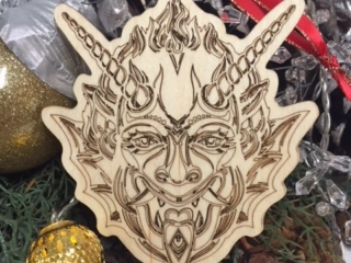 WoodLab Designs Laser Etched Baltic Birch Krampus Holiday Ornament