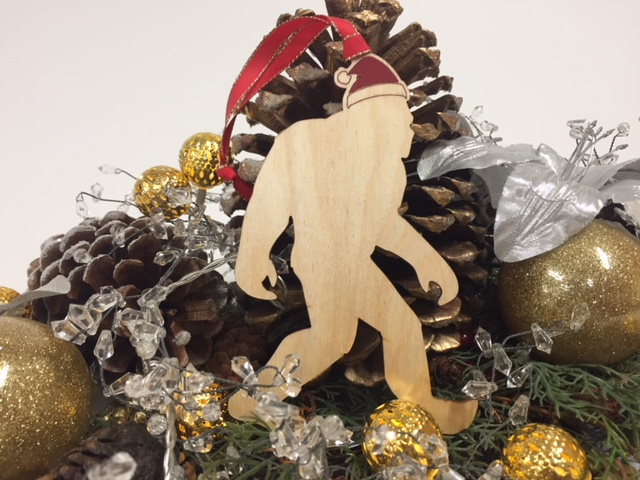 WoodLab Designs Humboldt Bigfoot in a Santa Hat Baltic Birch laser cut and painted Holiday Ornament