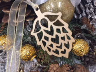 WoodLab Designs Laser Cut Baltic Birch Hop Head Holiday Ornament with Gold Tipped Ribbon