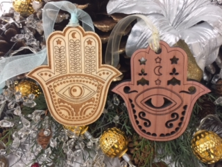 WoodLab Designs Incense Cedar & Baltic Birch Ply Eastern Hamsa Laser Etched Ornaments