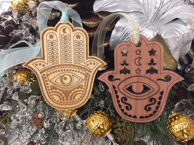 Hamsa Wood Cedar Baltic Birch Ornaments with Ribbons