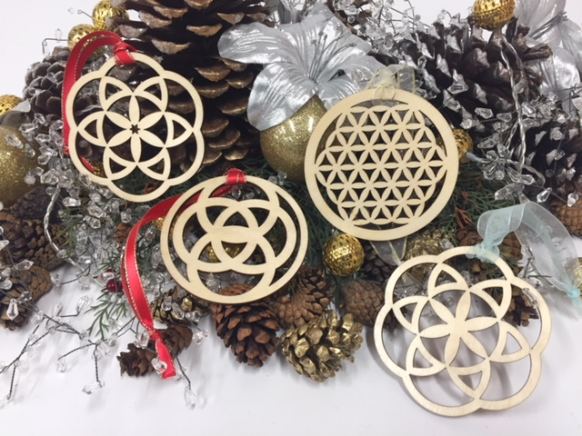 WoodLab Designs Baltic Birch Laser Cut Sacred Geometry Wood Ornament with Assorted Ribbon