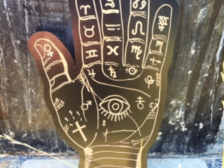 WoodLab Designs Palm Reader Gypsy Halloween Decor Sign made from Laser Etched Black Stained Baltic Birch Ply