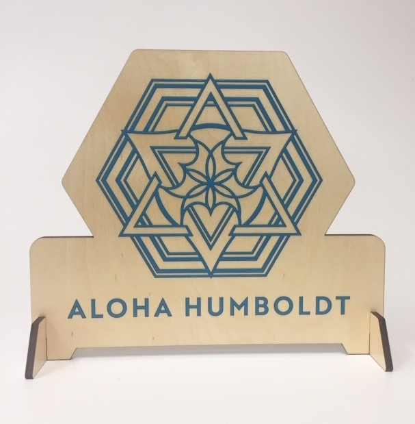 WoodLab Designs Aloha Humboldt Laser Cut Baltic Birch Plywood Table Talker Sign
