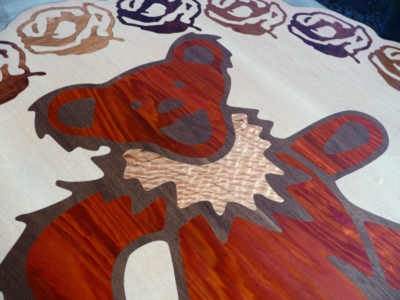 Jerry Bear Inlaid Wood Wall Mounted Art