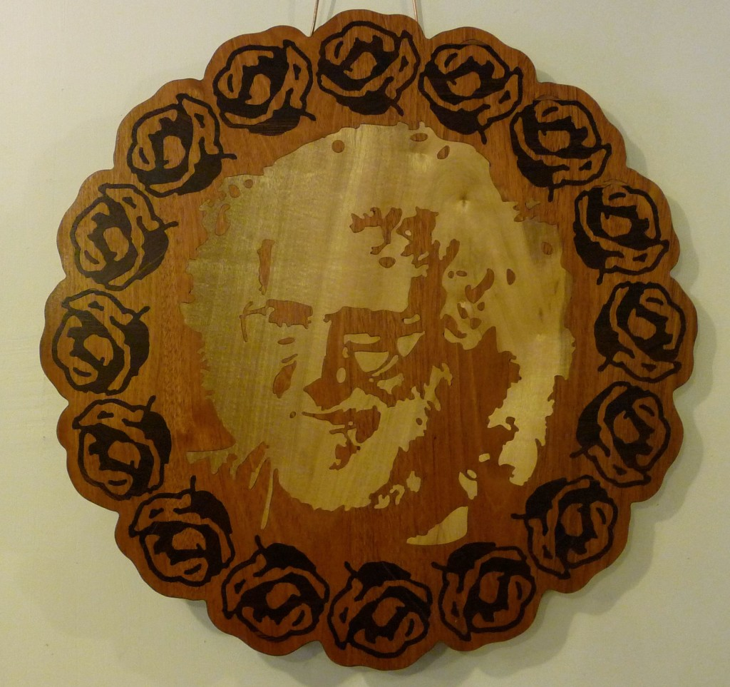 Jerry Garcia Roses Wood Inlaid Wall Mounted Art