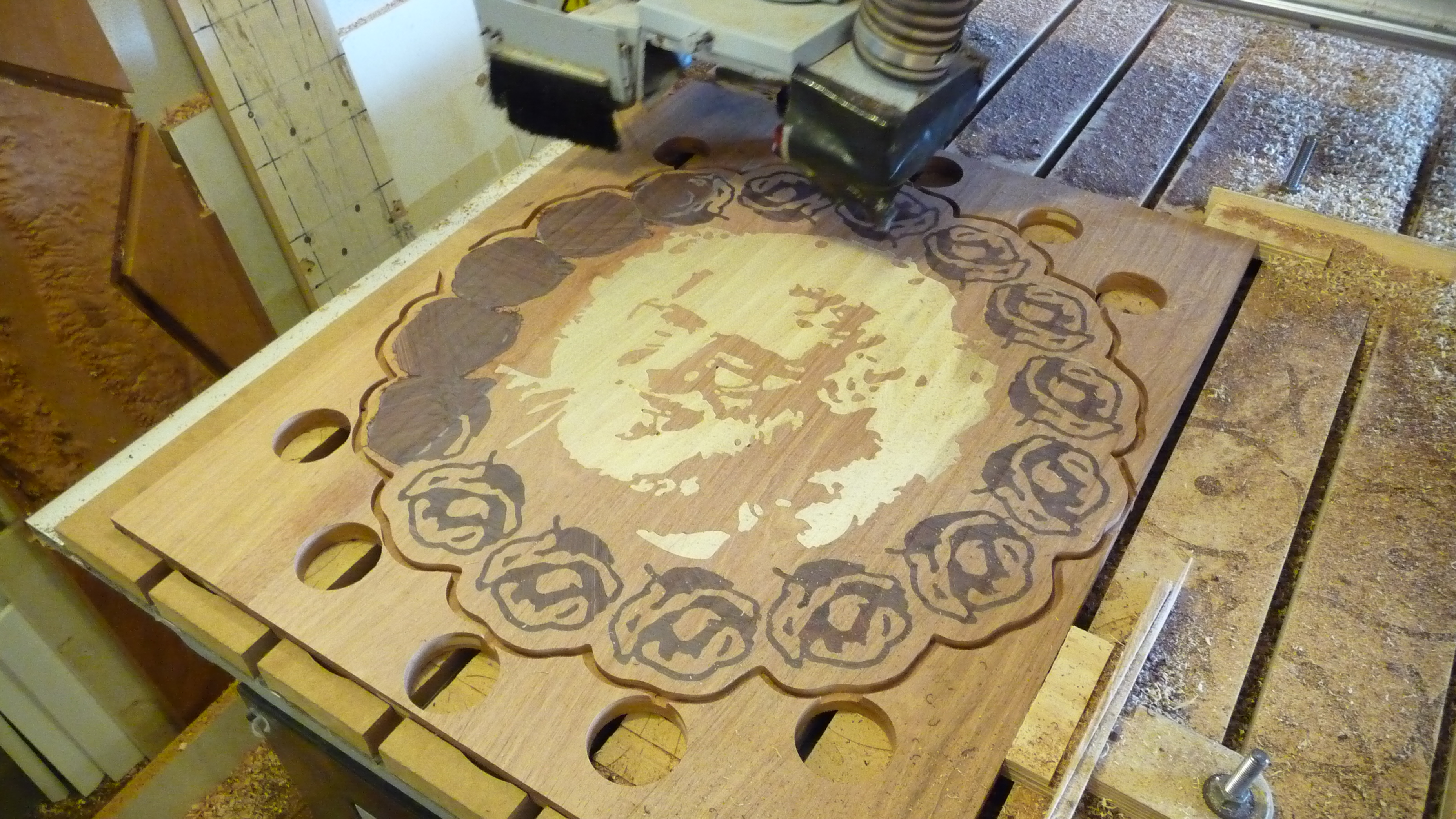 CNC Routed Wood Inlaid Artwork in progress