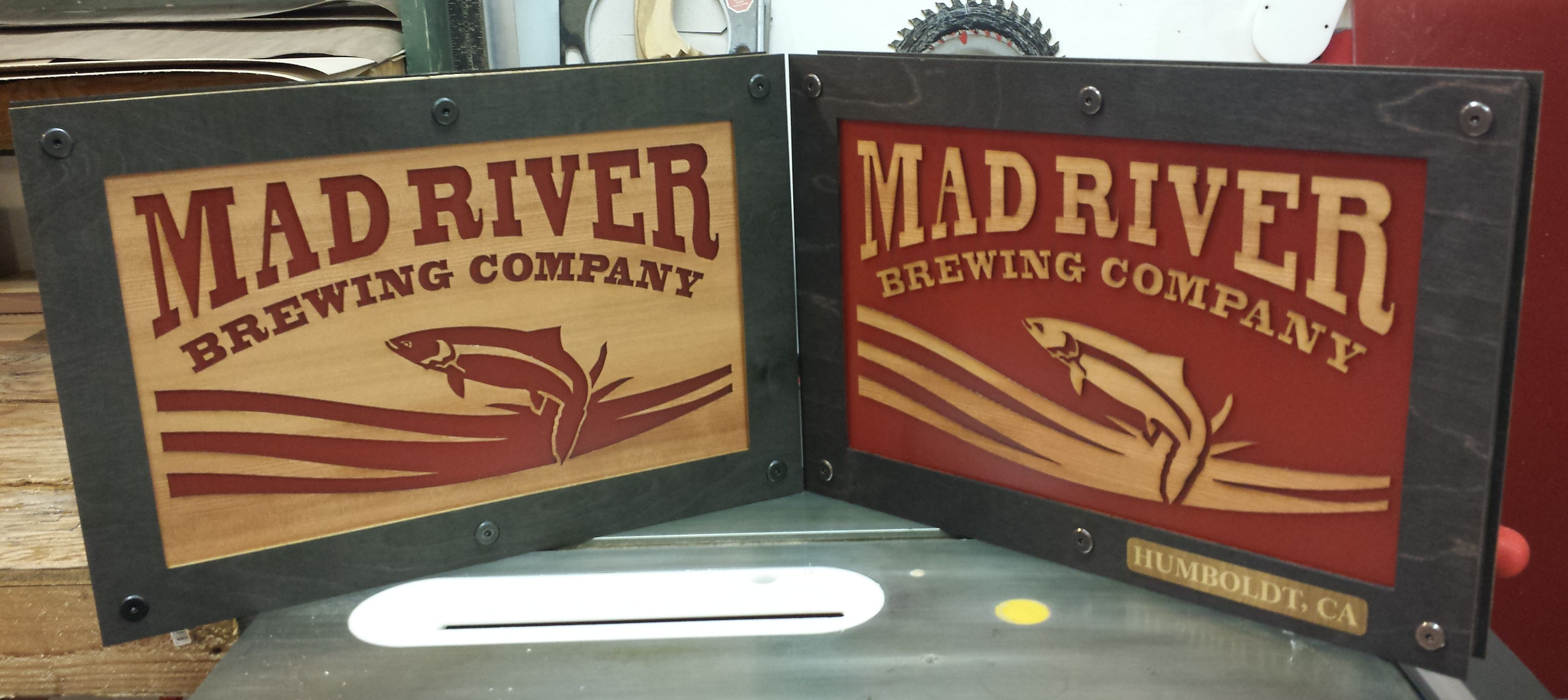 WoodLab Designs Mad River Brewing Company Light up signage