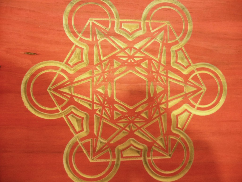 Orange Mandala CNC Routed Wood Art