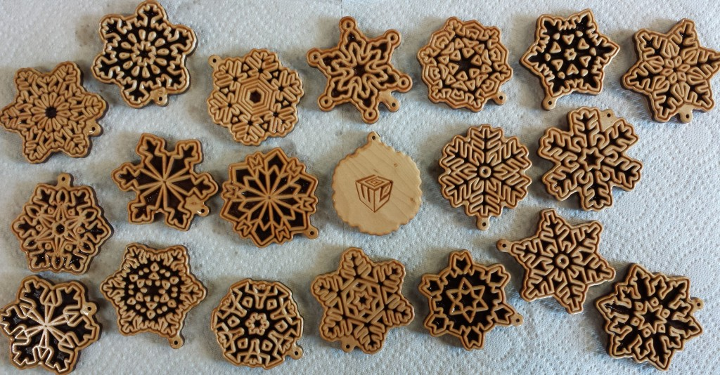 Snowflake Laser Etched Wooden ornaments