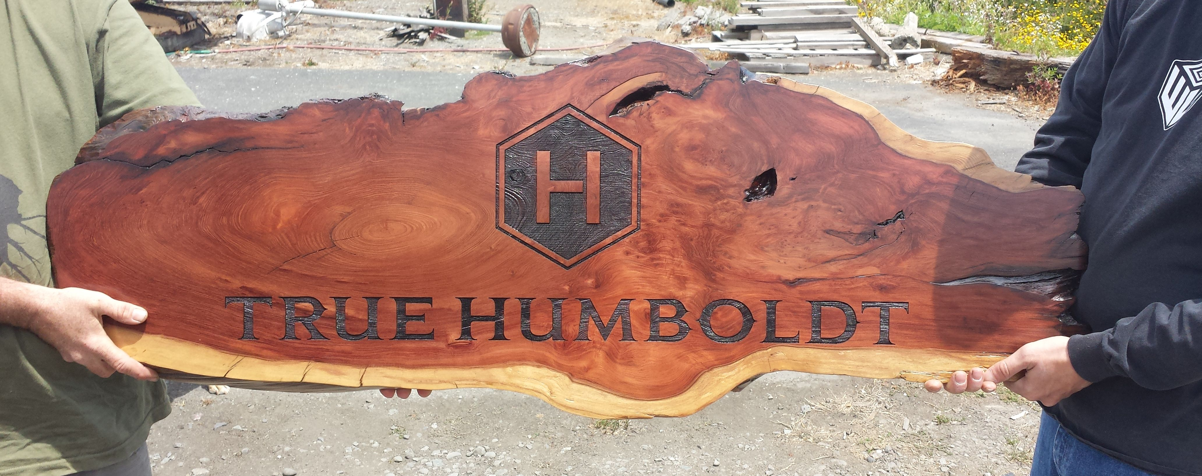 WoodLab Designs True Humboldt Laser Etched Redwood Slab signage