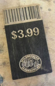 Juice Bar Custom Barcoded Wooden Pricing Cards
