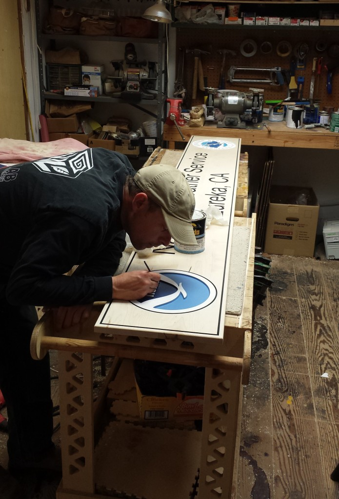WoodLab Designs NOAA signage hand painting in progress