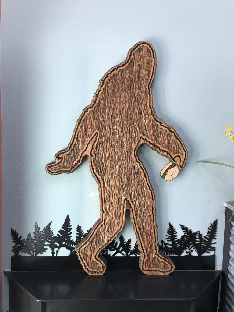 WoodLab Designs Sasquatch Bigfoot Large Wall Sign Burger Joint Arcata