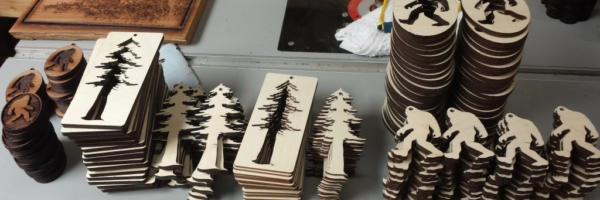 Bigfoot & Redwood Tree Wooden ornaments