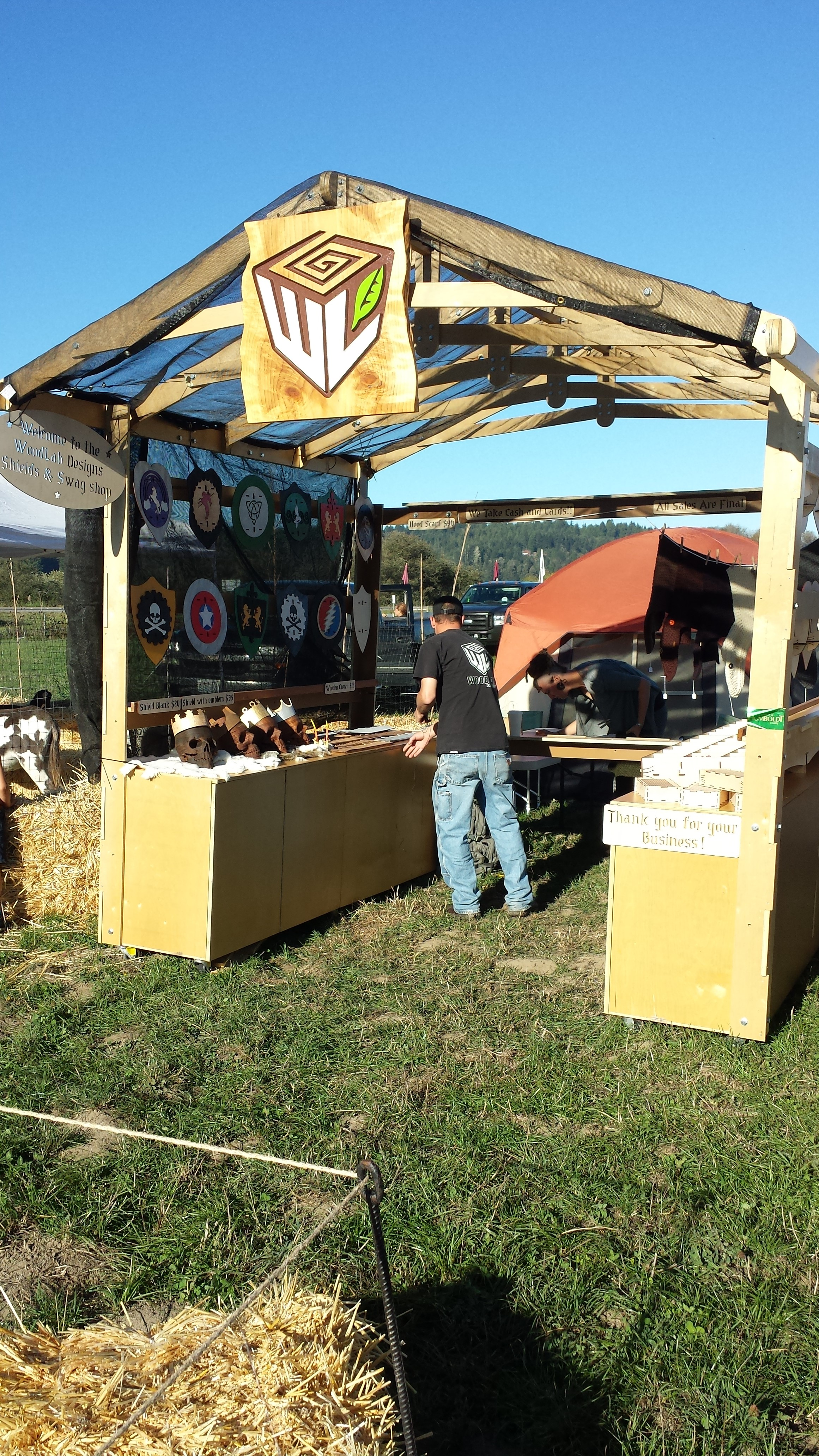 Renaissance Fair Custom Craft Booth with Shields, Skulls