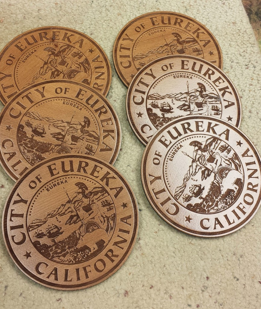 WoodLab Designs City of Eureka Laser Etched Redwood Coasters