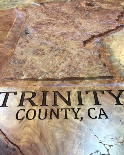 Wooden CNC & Laser Etched Trinity County Topographical Map