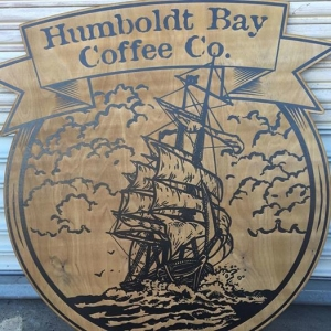WoodLab Designs Humboldt Bay Coffee Company Laser Etched Stained Baltic Birch Signage