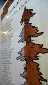 Inlaid Redwood Tree signage
