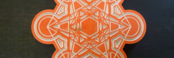 Orange Mandala Wooden Ornament