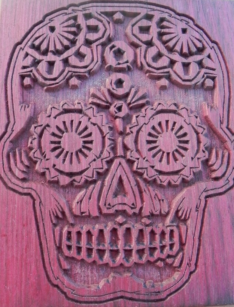 Wooden Purple Heart Sugar Skull Artwork