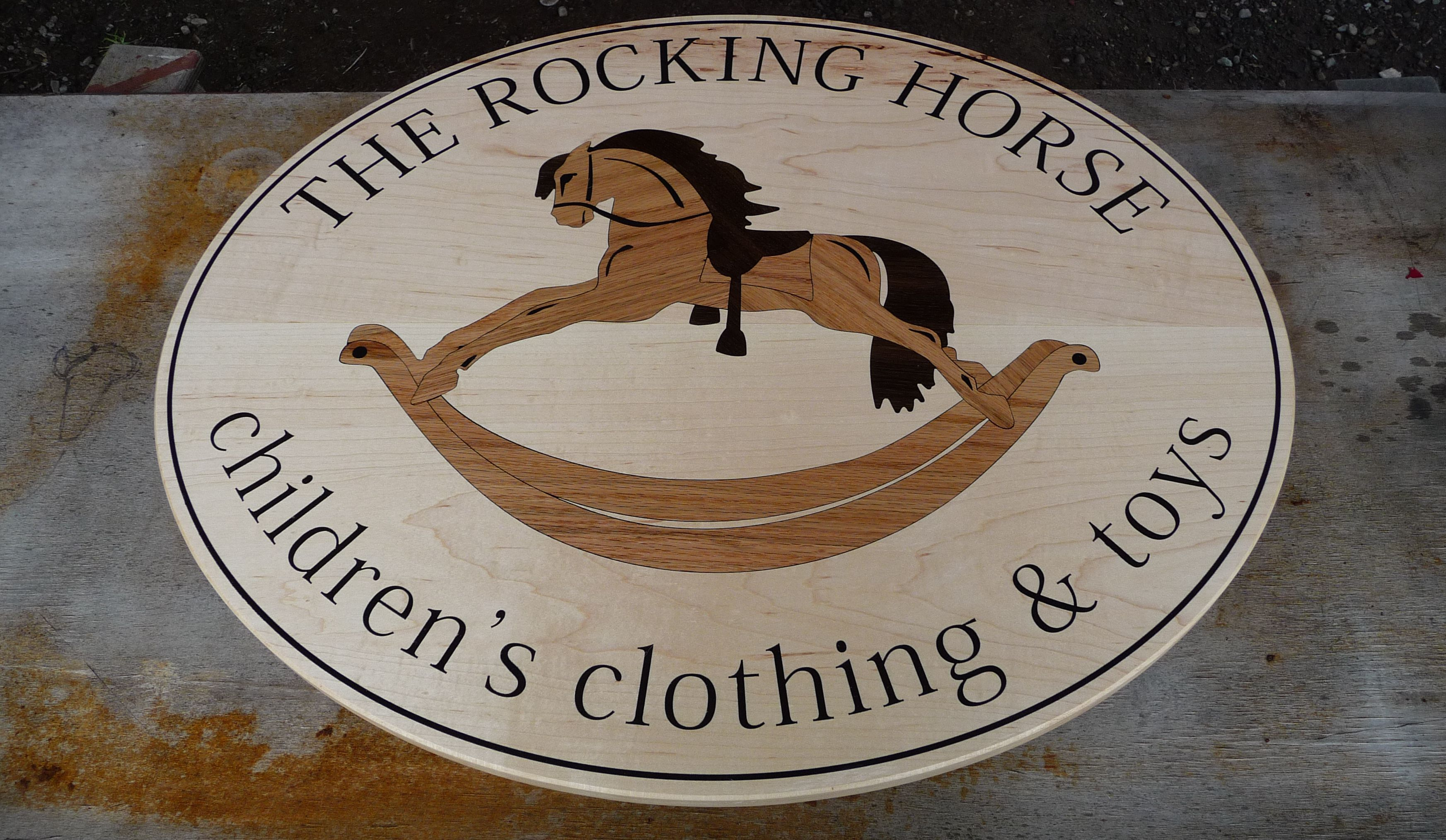 WoodLab Designs the Rocking Horse Wood Inlay signage