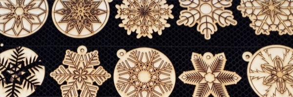 WoodLab Designs Snowflake Laser Etched Baltic Birch Wooden Ornaments
