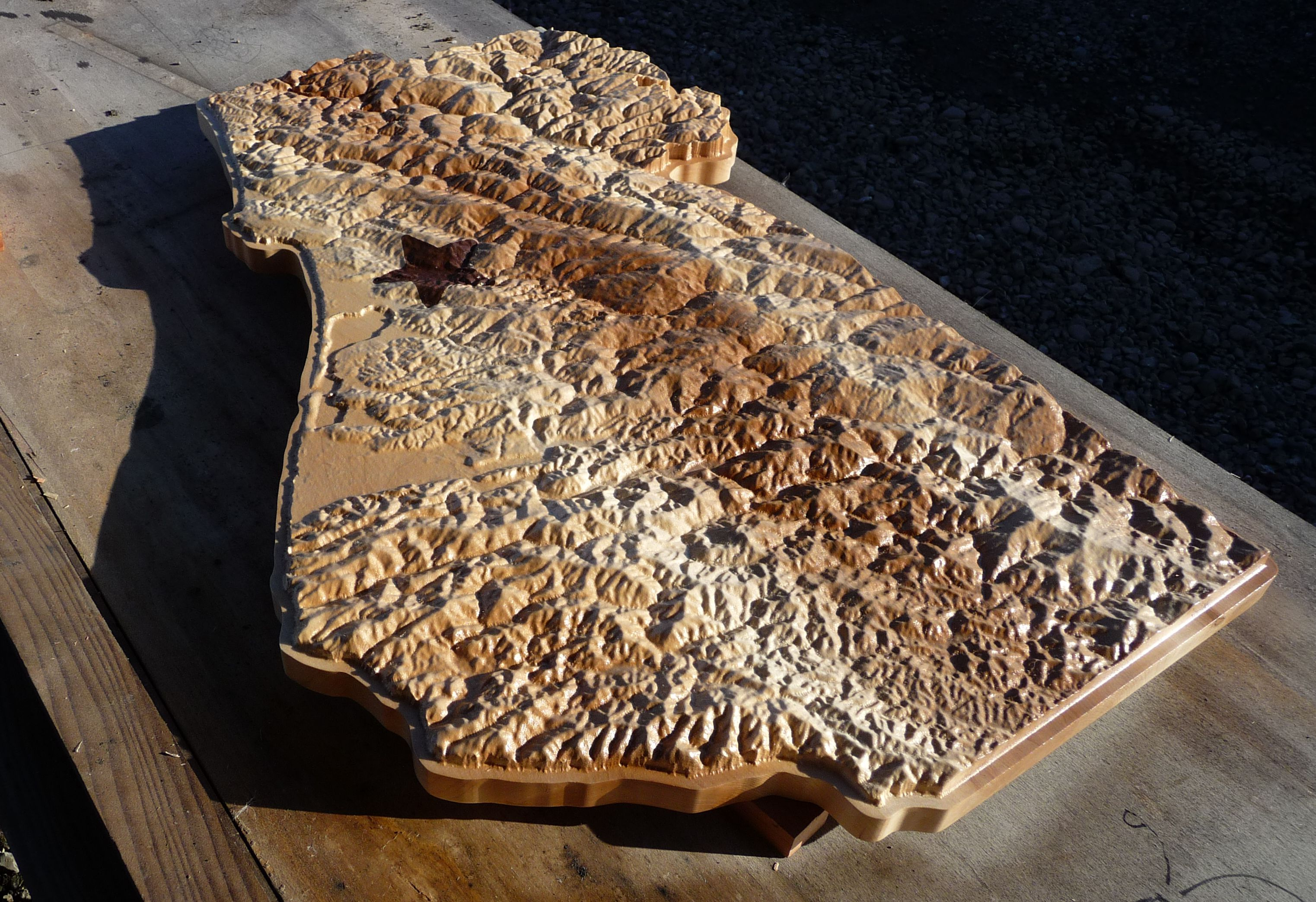 Wooden Topography with Star Location Icon