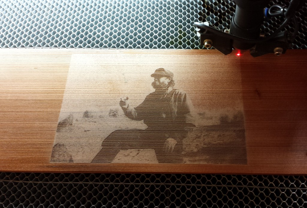 WoodLab Designs Laser Etching in progress