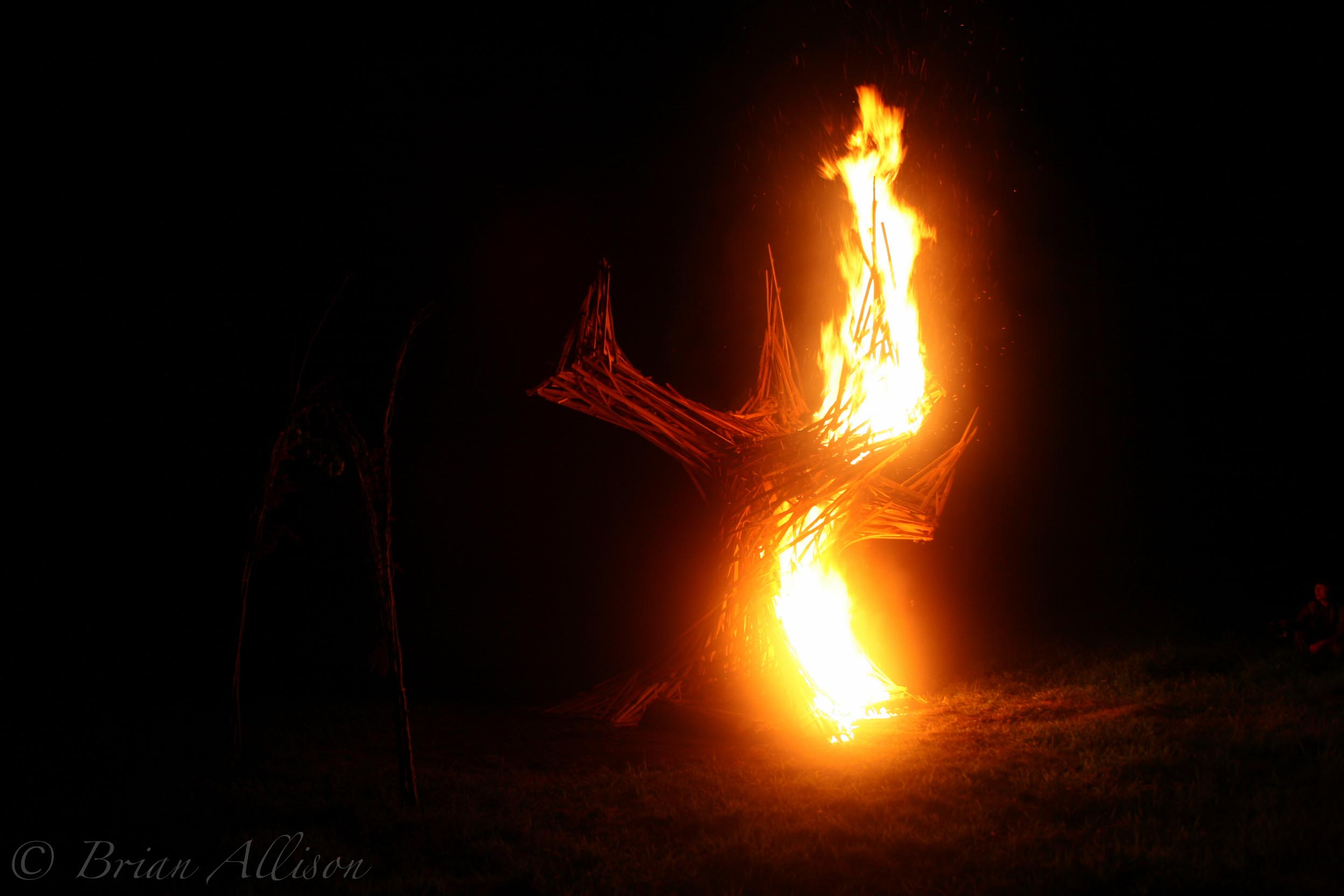 sculpture on fire