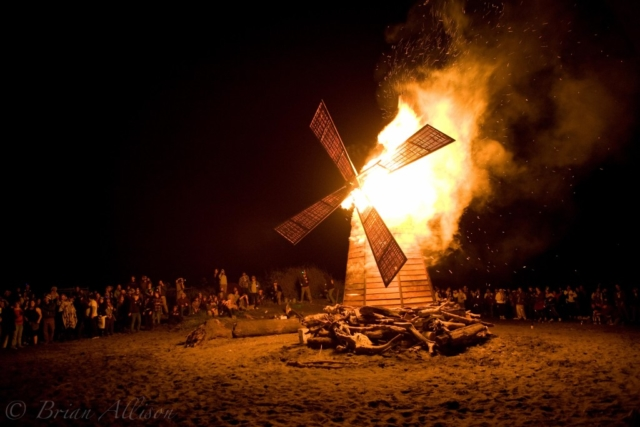 WoodLab Designs windmill fire sculpture burning