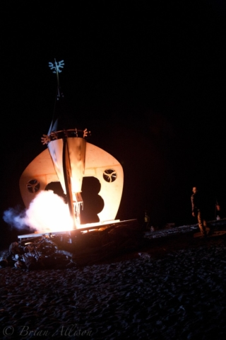 Rocket Ship Fire Sculpture Ignites