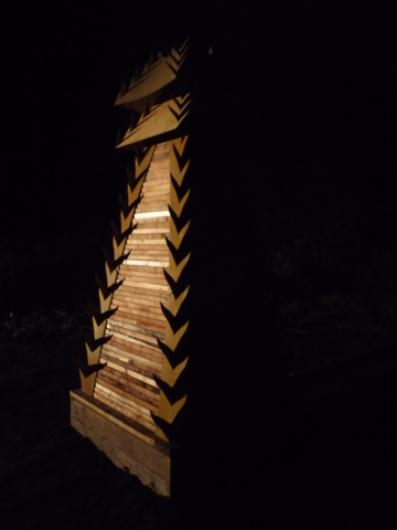 WoodLab Designs Tower Sculpture Night View