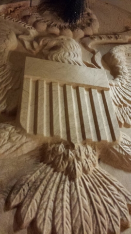 Wooden Courthouse Emblem in progress