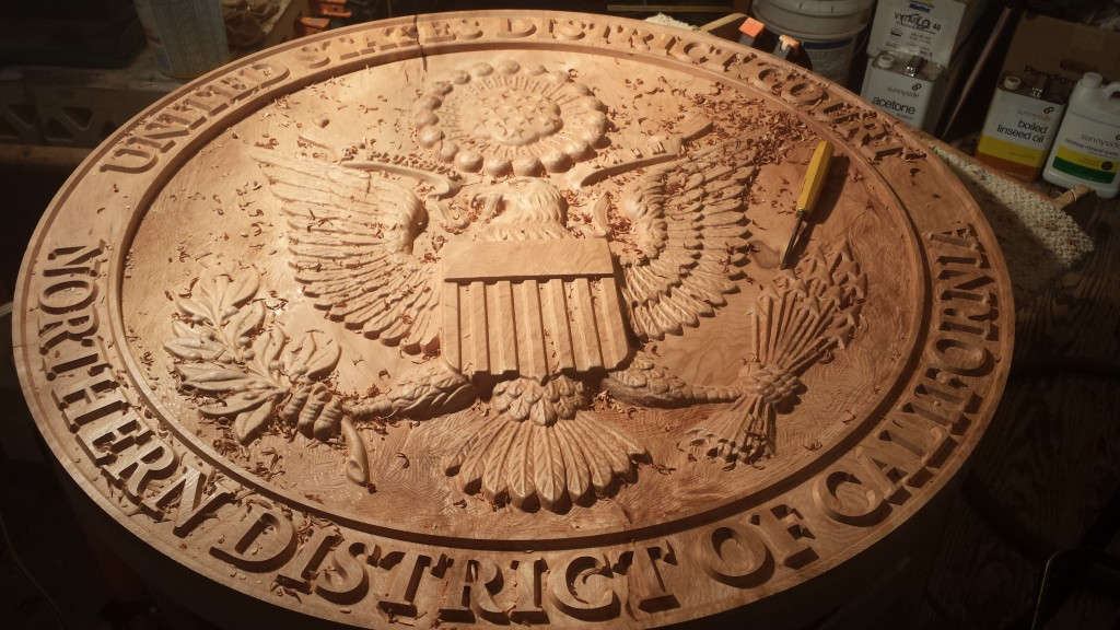 WoodLab Designs Northern District California Court Seal Hand Chiseling