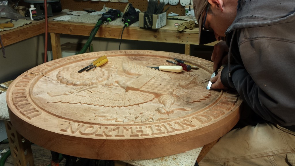 WoodLab Designs Hand Tooling Courthouse Emblem