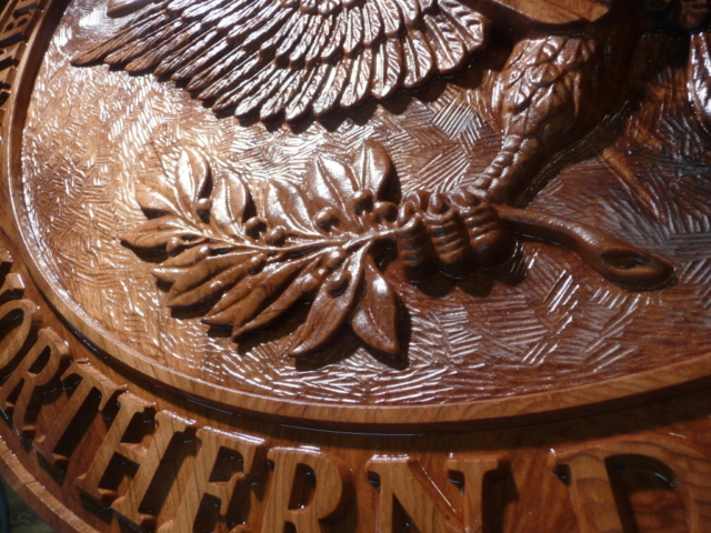 WoodLab Designs Sculptural Emblem Finish Detail